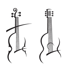 Violin and guitar vector