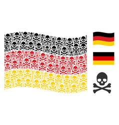 waving germany flag pattern of death skull icons vector image