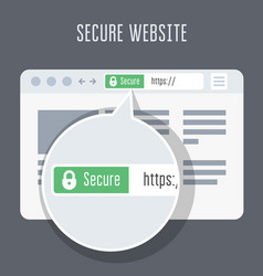 website with ssl certificate - green address bar vector image