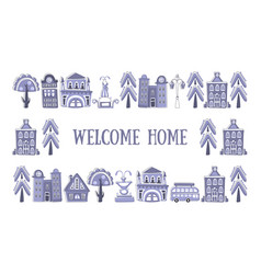 welcome home banner template frame with hand vector image