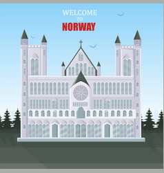 welcome to norway card architecture of vector image