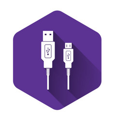 White usb micro cables icon with long shadow vector