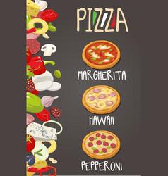 whole pepperoni hawaiian margherita pizza and vector image