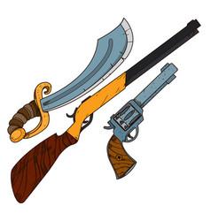 wild west guns slasher revolver shotgun vector image