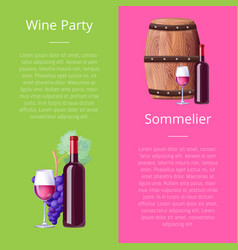 Wine party and sommelier icons vector
