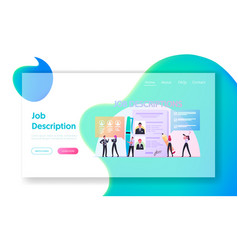 Work descriptions landing page template tiny vector