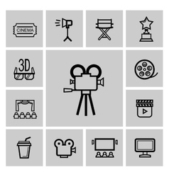 black movie icon set vector image vector image