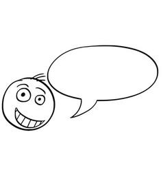 cartoon of male man head with empty speech bubble vector image