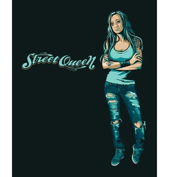 Grungy girl vector image vector image