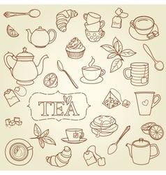 Hand drawn tea doodle concept vector image