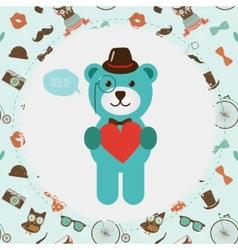 Hipster Bear holding Heart vector image
