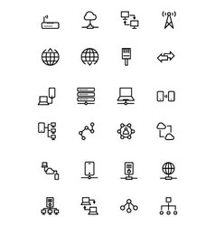 Network and Sharing Outline Icons 2 vector image vector image