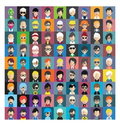 Set of people icons in flat style with faces 14 b vector image