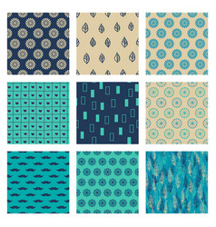 set of turquoise blue beige ornaments vector image