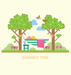 Summer landscape with a hammock vector image vector image