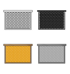 frame with honeycomb icon in cartoon style vector image vector image