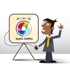 Retro Photo Camera with Photographer vector image