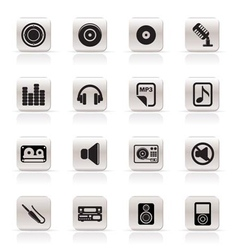 simple music and sound icons vector image vector image