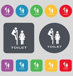 toilet icon sign A set of 12 colored buttons Flat vector image