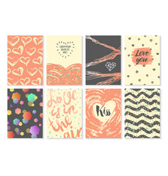 abstract greeting cards set for valentines day vector image