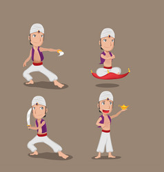 aladdin persian character cartoon set vector image vector image