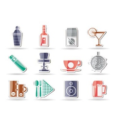 bar and drink icons vector image vector image