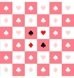 Card suits pink white chess board background vector