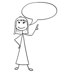 cartoon of female woman with empty speech bubble vector image