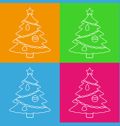 christmas tree with star line icons vector image