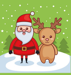 santa claus with reindeer character christmas card vector image