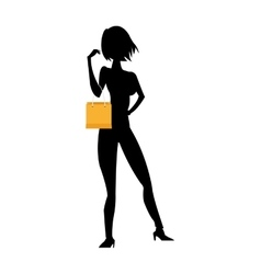 woman holding shopping bag silhouette vector image
