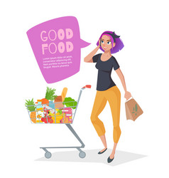 young woman talking on the phone in a supermarket vector image vector image