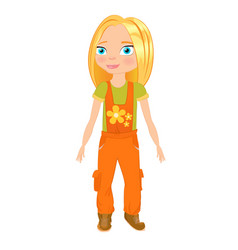 a girl in the shape of a plumber vector image