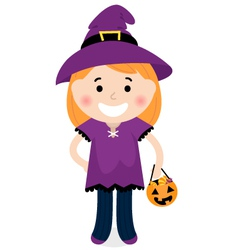 Cute halloween witch vector image vector image