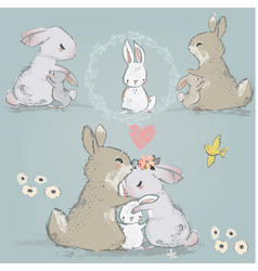 cute hares couple with children vector image vector image
