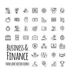 icons set - business finance startup in outline vector image
