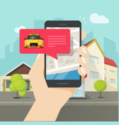 online taxi on mobile phone and city vector image