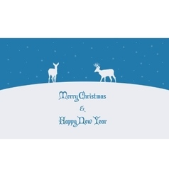 Scenery of deer on the hill winter vector image vector image