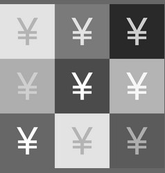 yen sign grayscale version of popart vector image