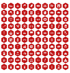 100 europe countries icons hexagon red vector image
