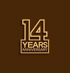14 years anniversary design line style vector