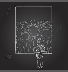 A lonely boy among a crowd of people drawing by vector