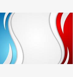 Abstract red and blue corporate wavy background vector