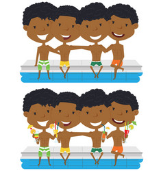 African american boys sit at the edge of the pool vector