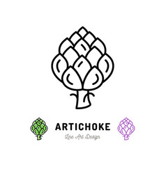 artichoke icon vegetables logo thin line vector image