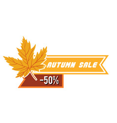 autumn sale 50 maple tag ribbon image vector image