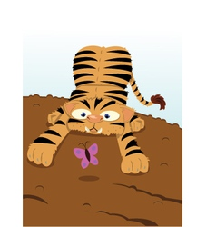 Baby Tiger and Butterfly vector