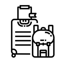 Baggages line icon vector