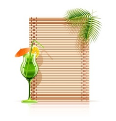 Bamboo mat palm cocktail vector