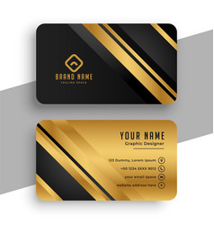 black and gold premium business card template vector image